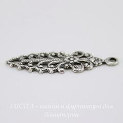 Винтажный декоративный элемент - подвеска филигранная 26х9 мм ( оксид серебра)
