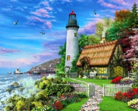 Картина раскраска по номерам 40x50 Дом с маяком рядом с морем