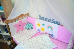 Защита-бортики в кроватку для новорожденных от комплекта Леко Розово-белый