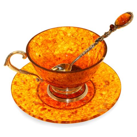 Чашка чайная из янтаря с ложкой «Ажурная»