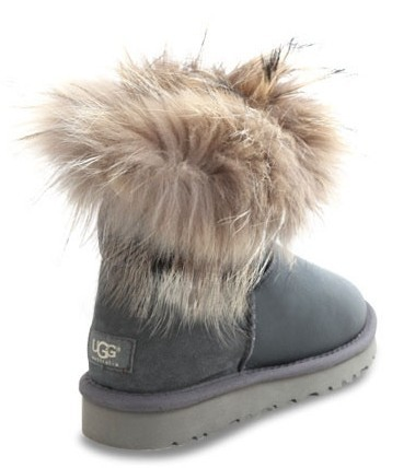UGG Fox Fur Mini Metallic Grey