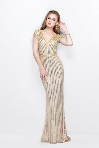 Emanuel 6188 платье расшито бисером и пайетками по всей длине с V- образным вырезом декольте