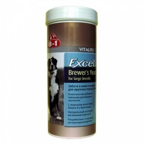 8 in 1 EXCEL витамины Brewers Yeast с пивными дрожжами и чесноком для крупных собак 80 таблеток
