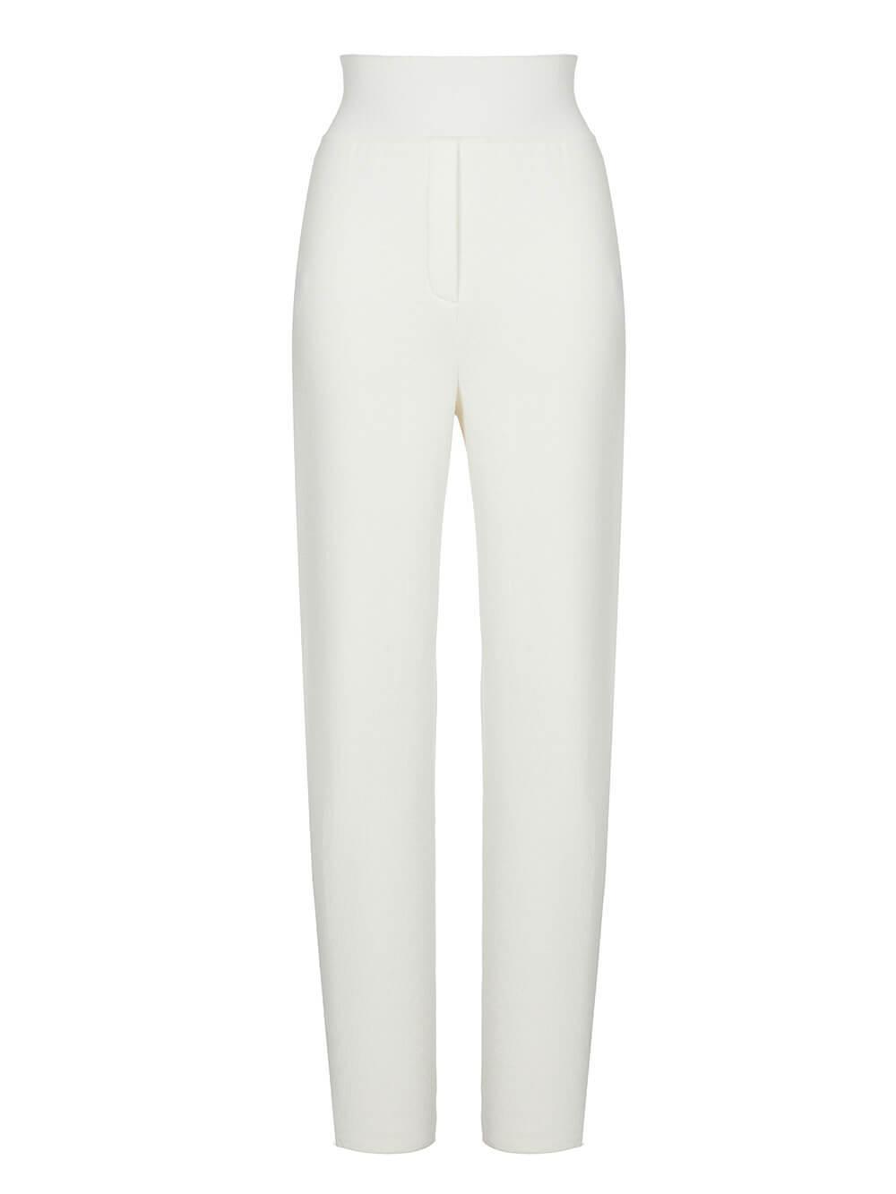 Женские брюки молочного цвета из шерсти и шелка - фото 1