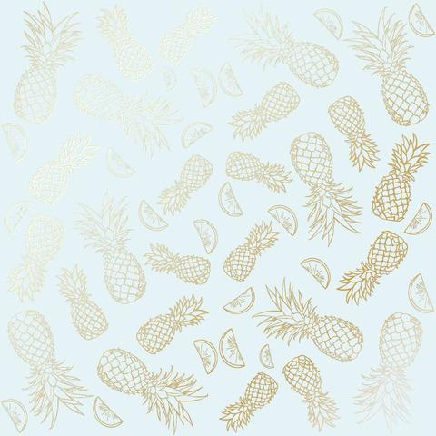 Лист односторонней бумаги с фольгированием Golden Pineapple Blue 30,5х30,5 см