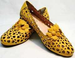 Легкие летние туфли желтые женские Phany 103-28 Yellow.