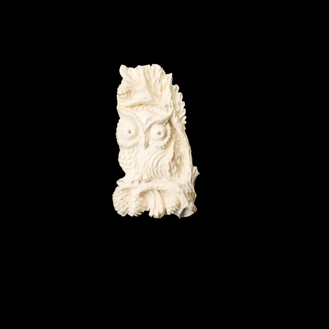 Брошь из бивня мамонта «Сова и шишки»