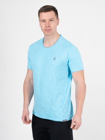 Мужская футболка «Великоросс»  ярко-бирюзового цвета круглый ворот