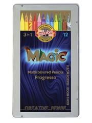 Набор 12 цельнографитных карандашей PROGRESSO MAGIC и 1 карандаш-блендер в металлической коробке