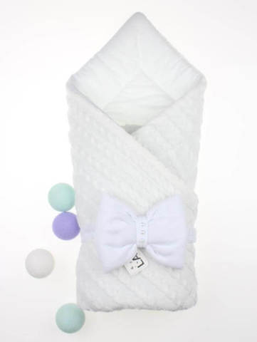 Демисезонный вязаный конверт одеяло Дуэт 2 (белый)