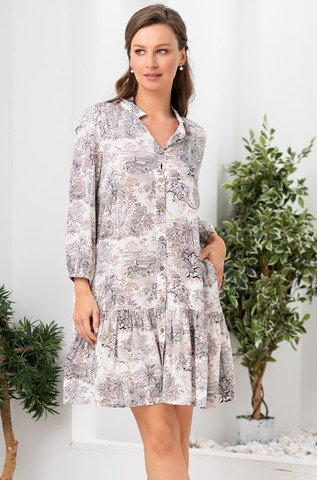 Короткое платье-рубашка из вискозы Mia Amore Элефант