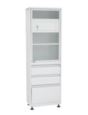 Медицинский шкаф (ШМС-1-А-Т-Р-2/1) ШМС-1 с трейзером с рег. опорами в ал. раме с в. ящиками (2/1) - фото
