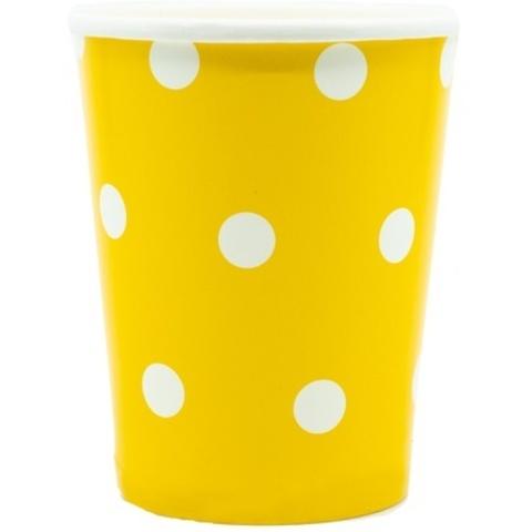 Стакан Горошек желтый 250мл 6шт
