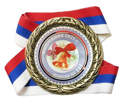Медаль выпускнику с номером школы (колокольчик)