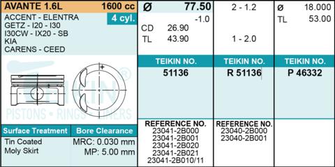 ПОРШНИ 0,5 GAMMA 1,6 ELANTRA HD, i30 FD, SOLARIS, CEED ED, CERATO TD, RIO QB 77.5 1,2-1,2-2,0 (К-Т 4ШТ+ ПАЛЬЦЫ) DONG YANG