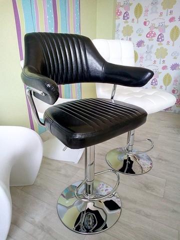 Барный стул-кресло Cherokee / Чероки  (стул визажиста, бровиста, парикмахера), регулируемый по высоте, экокожа