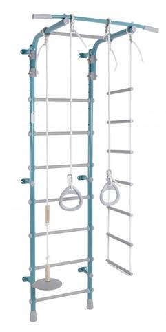 ДСК Pastel 2 цв. бирюзовый-серый (регулируемый турник. веревочная лестница, тарзанка, кольца)