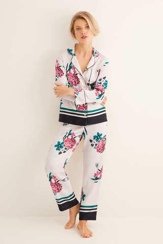 Довга піжама в сорочковому стилі з квітковим принтом