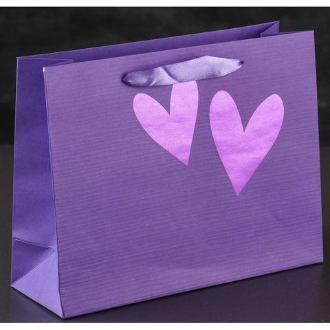 Бумажная сумочка с сердечками 18*23 см
