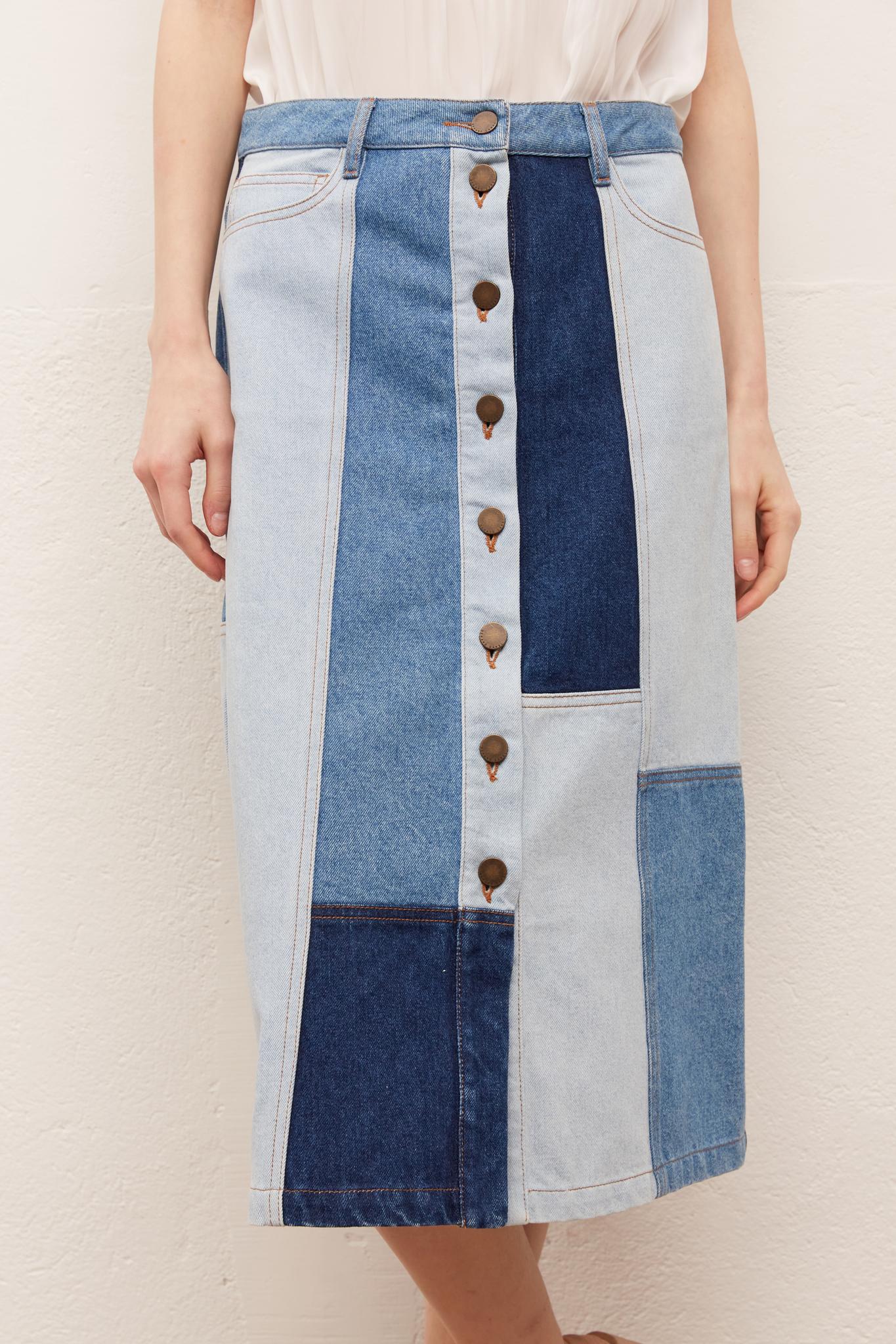 LAYA - Джинсовая юбка-миди на пуговицах