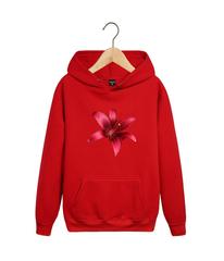 Толстовка красная с капюшоном (худи, кенгуру) и принтом Цветы (Лилии) 002