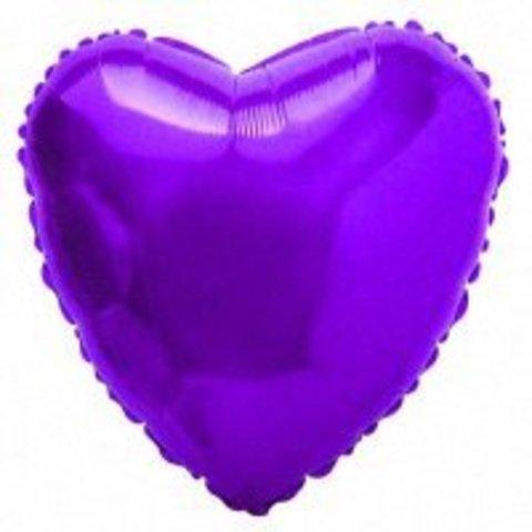 Шар-сердце фиолетовый, 45 см