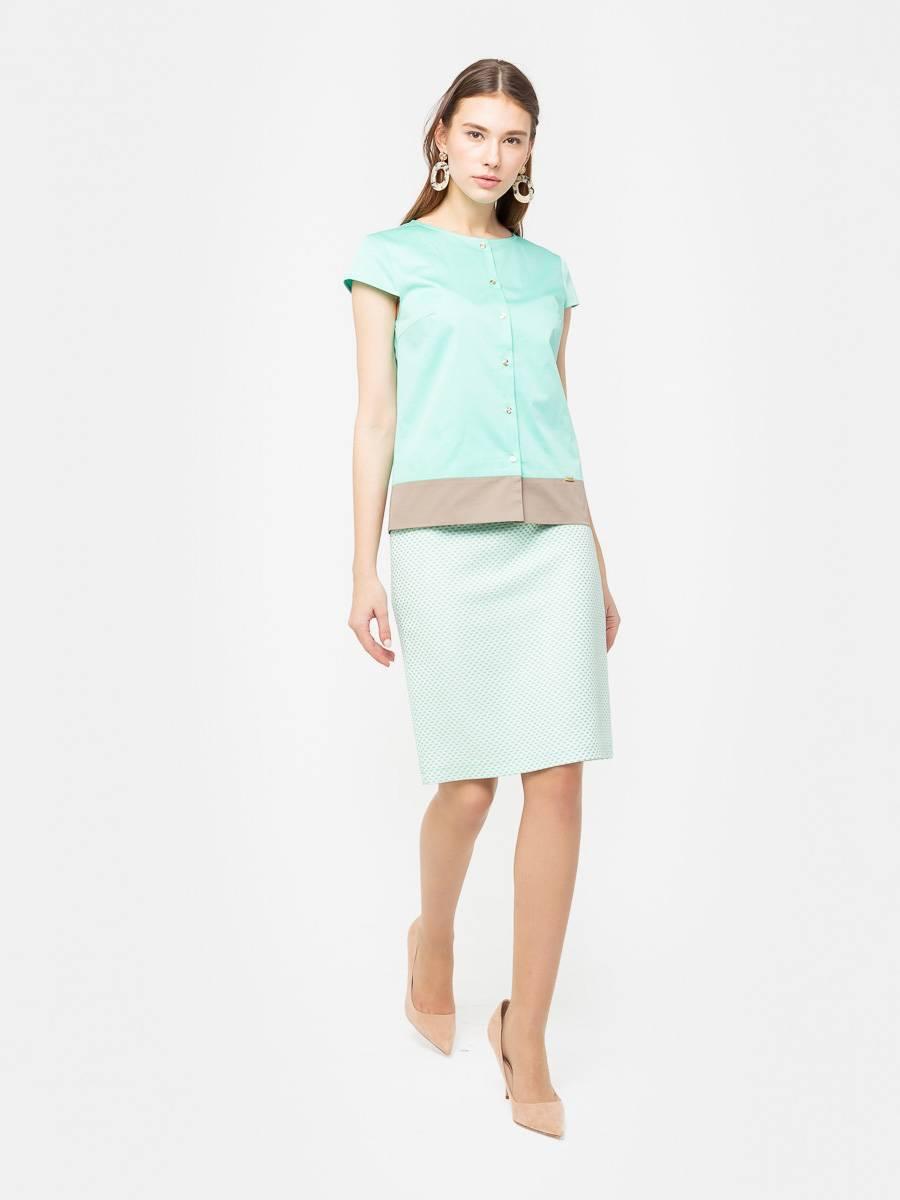 Юбка Б100-794 - Прямая юбка из фактурной поливискозы в мелкую точку на подкладке. Прекрасно сочетается с любым верхом, подойдет как для офиса так и для повседневной жизни.