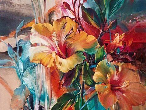 Алмазная Мозаика 40x50 Акварельные цветы