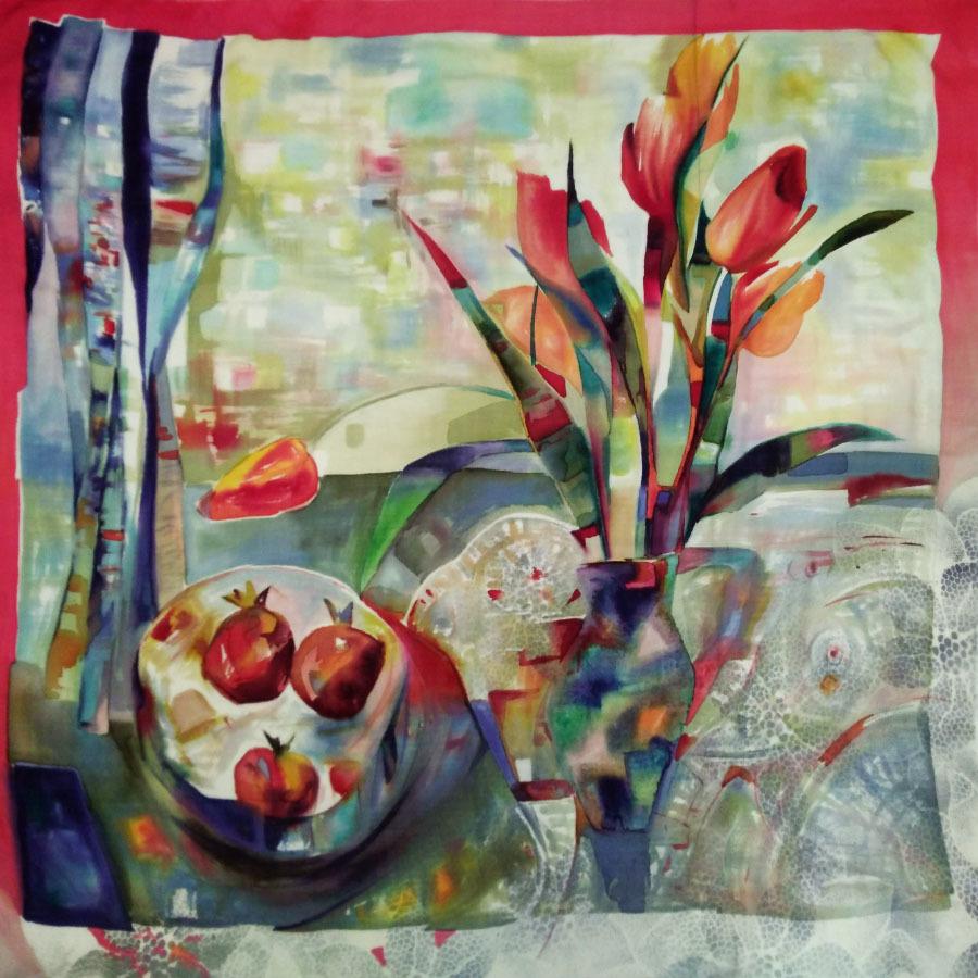 Шерстяной платок батик Натюрморт Весенний C-77-sh