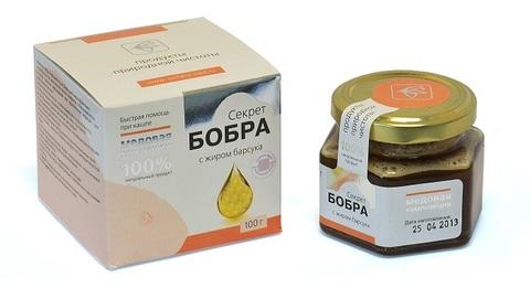 Секрет Бобра Медовая композия, жир Барсука, 100 гр. (Сашера Мед)
