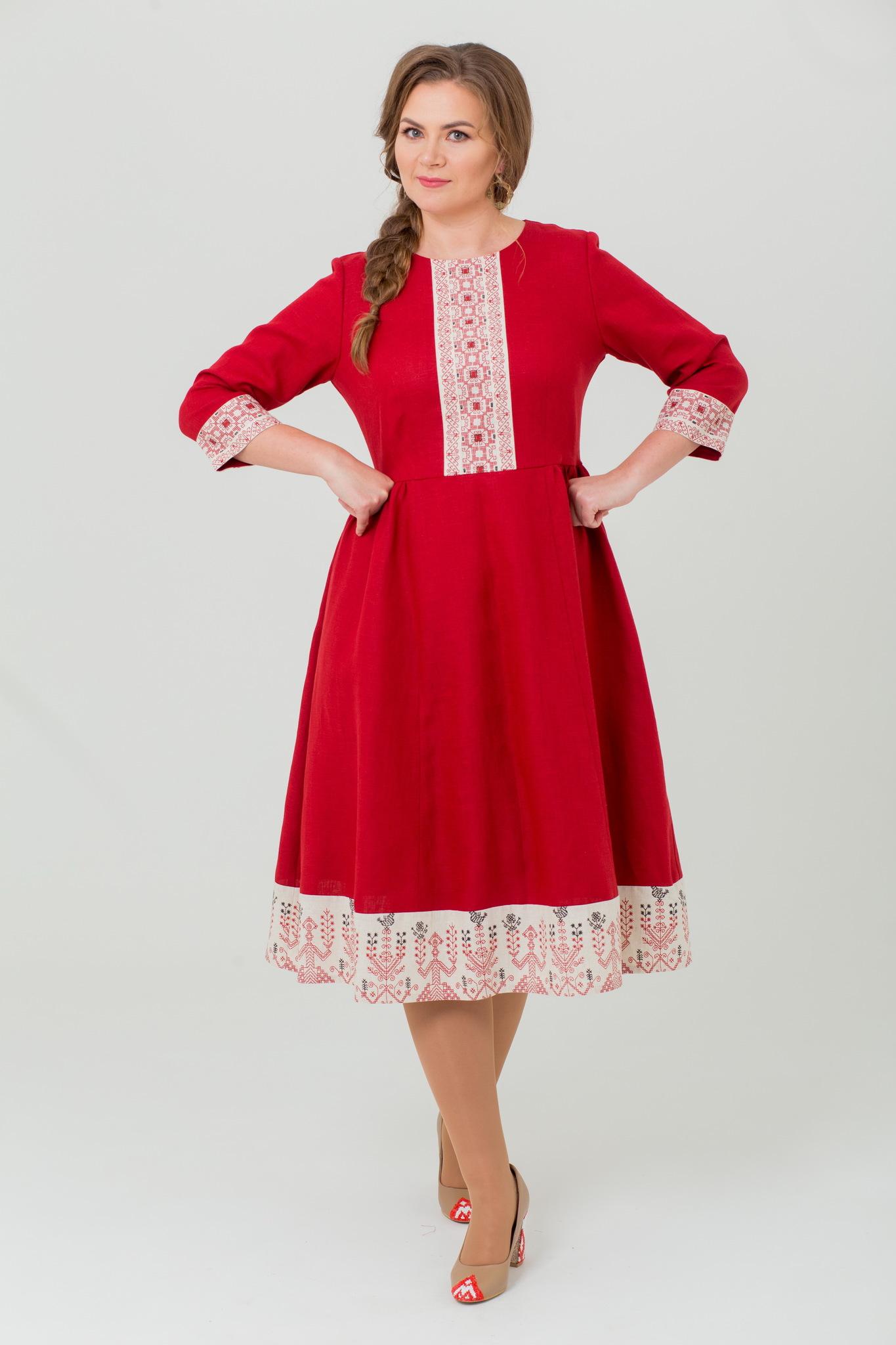 Льняное платье миди Вишнёвый сад