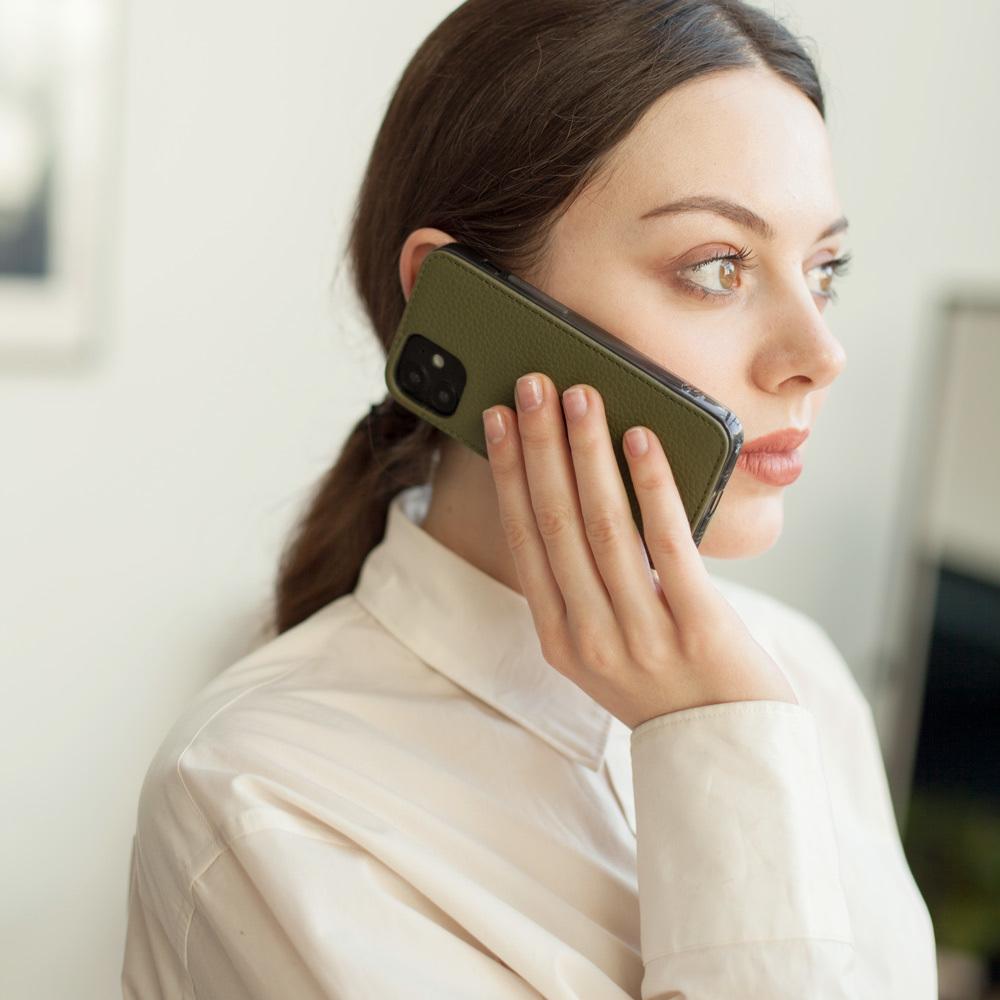 Чехол-накладка для iPhone 12 Mini из натуральной кожи теленка, зеленого цвета