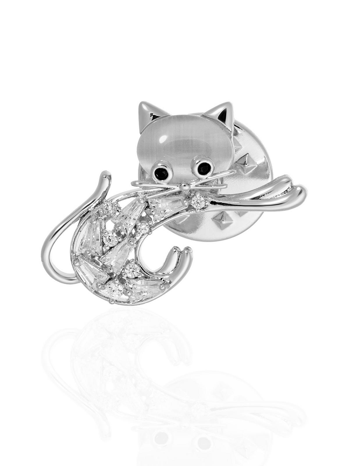 Мини-брошь-значок Кошка с фианитами