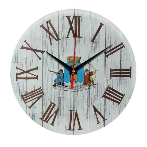 Печать под стеклом Деревянные настенные часы Анадырь 07