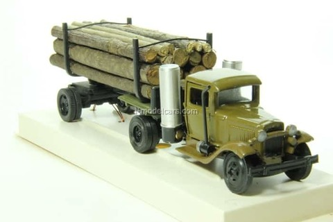 GAZ-42 Timber trailers gas generator with wood LOMO-AVM 1:43