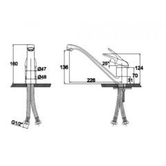 Смеситель KAISER Douglas 12011 Satin и 12011 хром для кухни схема