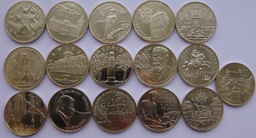 Набор из 16 монет номиналом 2 злотых. Годовой набор. 2008 год, Польша. UNC
