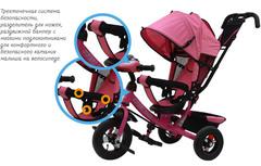 Детский трёхколёсный велосипед с ручкой и музыкой ( розовый ) Sweet baby - колёса надувные