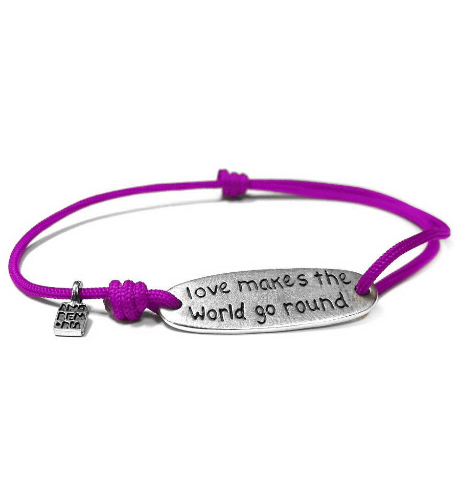 Love makes the world go round bracelet, sterling silver