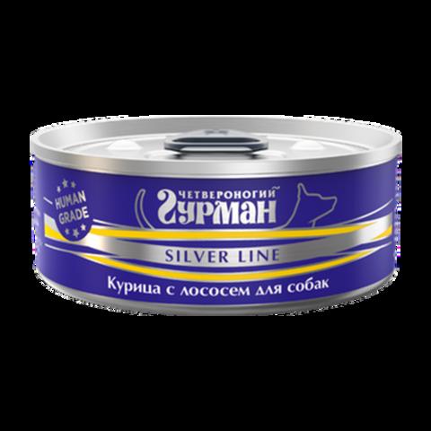Четвероногий Гурман Silver Консервы для собак с курицей и лососем в желе