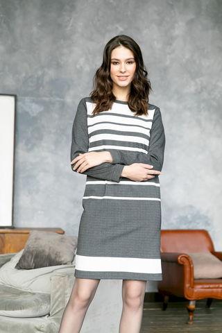 Фото серое платье-футляр в белую полоску - Платье З477а-052 (1)