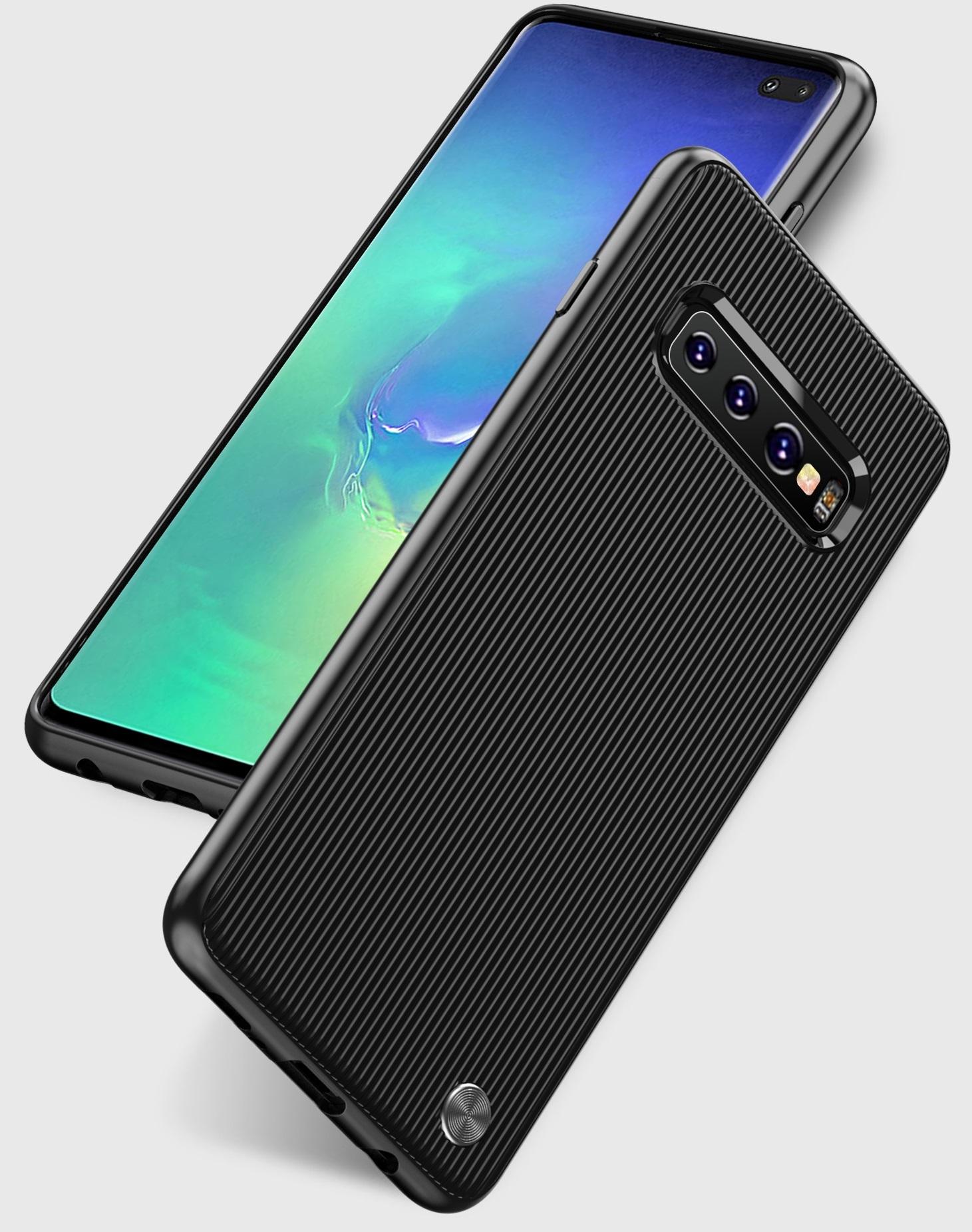 Чехол для Samsung Galaxy S10 Plus цвет Black (черный), серия Bevel от Caseport