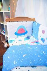 Защита-бортики в кроватку для новорожденных от комплекта Леко Сине-белый