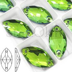 Стразы пришивные Navette Peridot, светло-зеленые для купальника по художественной гимнастике