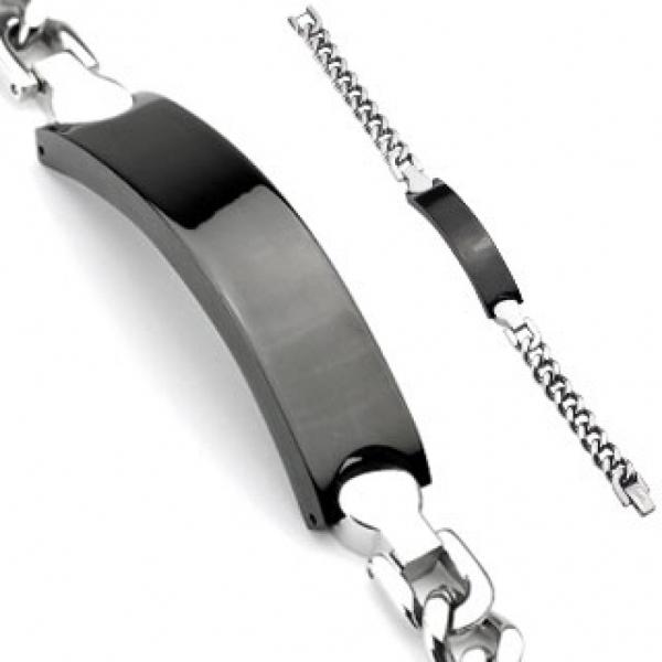Мужской браслет из нержавеющей ювелирной медицинской хирургической стали 316L с чёрной пластиной под гравировку  SSBQ-3042