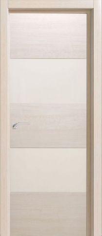 Дверь Визаж Тесла, стекло белое, цвет ясень бежевый, остекленная