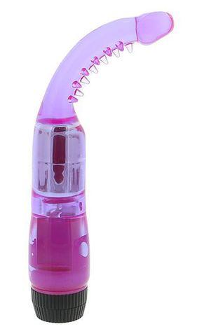Фиолетовый вибромассажер G-точки с усиками - 19 см.