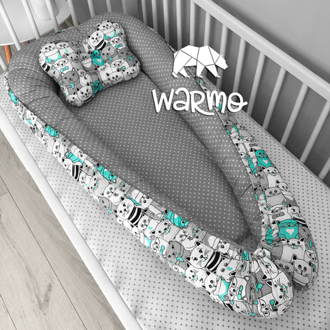 Кокон (гнездышко) для новорожденных Warmo™ МЯТНЫЕ КОТИКИ