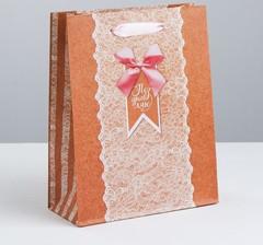 Пакет вертикальный крафтовый «Тебе нежной», MS 18 × 23 × 8 см