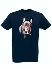 Футболка с принтом Собака (Dog) темно-синяя 002